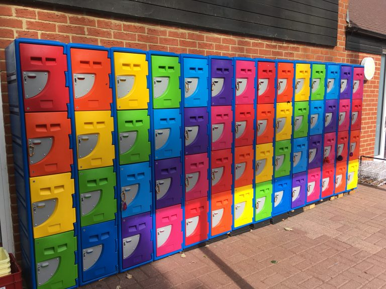Colourful School Lockers outdoors